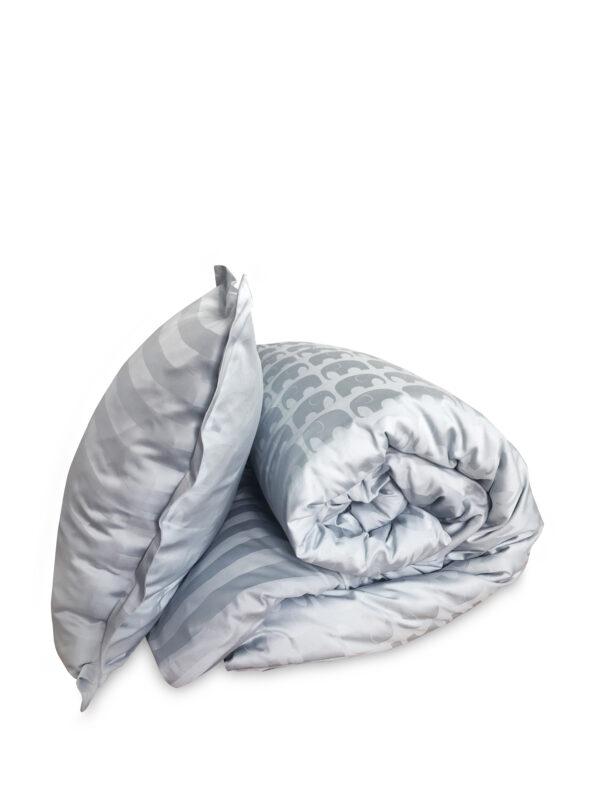 blåt luksus sengetøj med strip elefanter